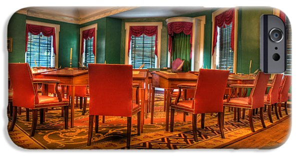 Independance Photographs iPhone Cases - The First American Congress Senate Chamber - Independence Hall - Congress Hall -  iPhone Case by Lee Dos Santos
