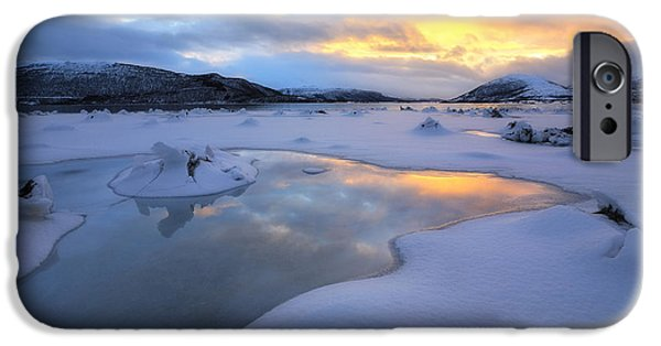Sunset In Norway iPhone Cases - The Fjord Of Tjeldsundet In Troms iPhone Case by Arild Heitmann
