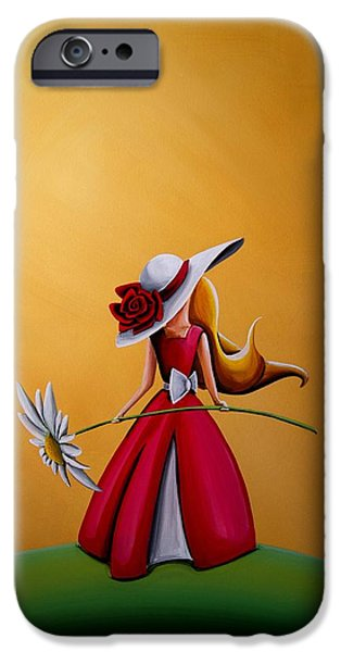 Figures Paintings iPhone Cases - The Flower Girl iPhone Case by Cindy Thornton