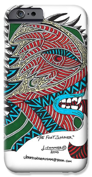 Abstract Drawings iPhone Cases - The Foot Soldier iPhone Case by Jerry Conner