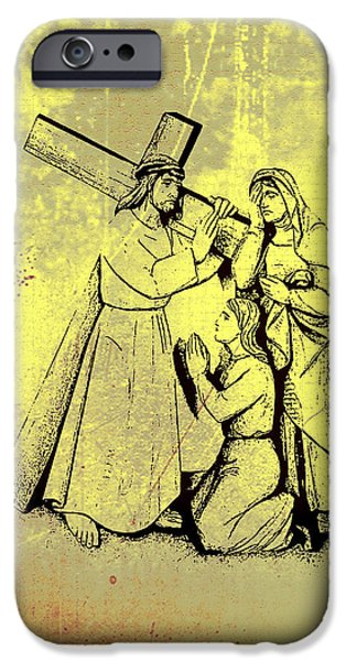 Mother Mary Digital Art iPhone Cases - The Fourth Station of the Cross - Jesus Meets his Mother iPhone Case by Bill Cannon