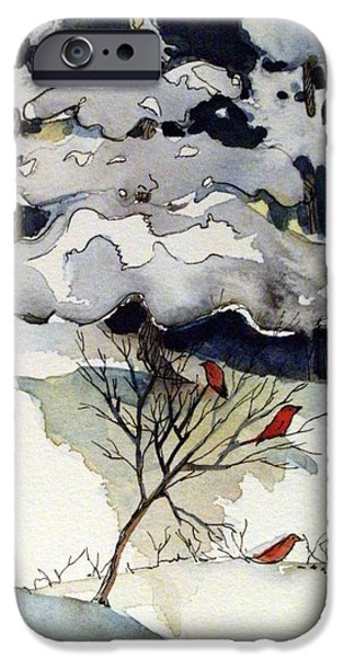 Pines Drawings iPhone Cases - The Friendly Pine Tree Watches iPhone Case by Mindy Newman