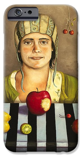 Mango Paintings iPhone Cases - The Fruit Collector 2 iPhone Case by Leah Saulnier The Painting Maniac
