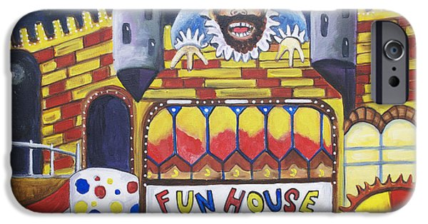 Asbury Park Paintings iPhone Cases - The Funhouse Castle iPhone Case by Patricia Arroyo