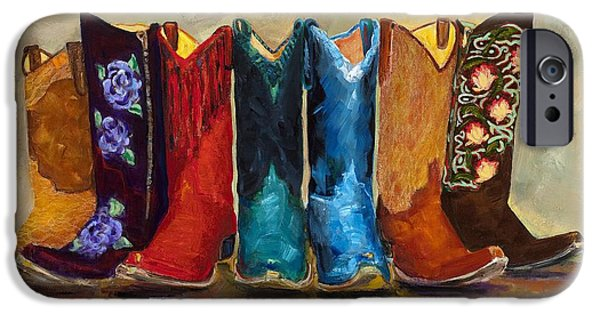 Cowboy iPhone Cases - The Girls Are Back In Town iPhone Case by Frances Marino