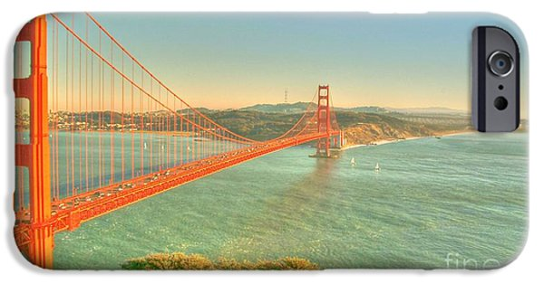 Sausalito Digital iPhone Cases - The Golden Gate Bridge  Fall Season iPhone Case by Alberta Brown Buller