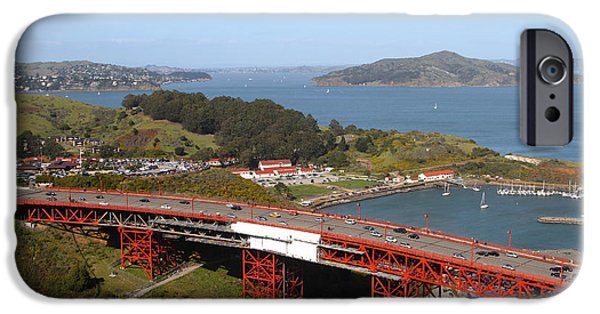 Sausalito Ca iPhone Cases - The Golden Gate Bridge North Side Overlooking Angel Island and Tiburon and Horseshoe Bay . 7D14494 iPhone Case by Wingsdomain Art and Photography