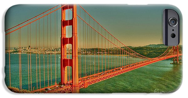 Sausalito iPhone Cases - The Golden Gate Bridge Summer iPhone Case by Alberta Brown Buller