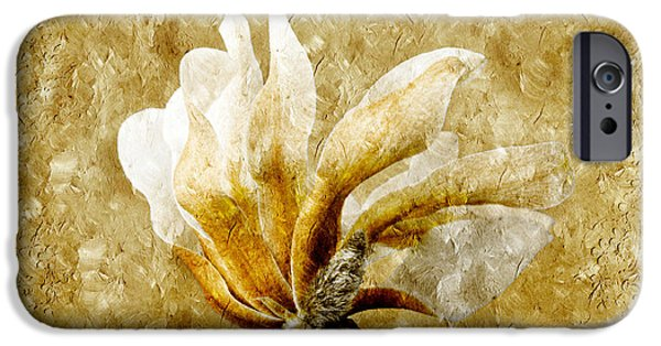 Macro Mixed Media iPhone Cases - The Golden Magnolia iPhone Case by Andee Design
