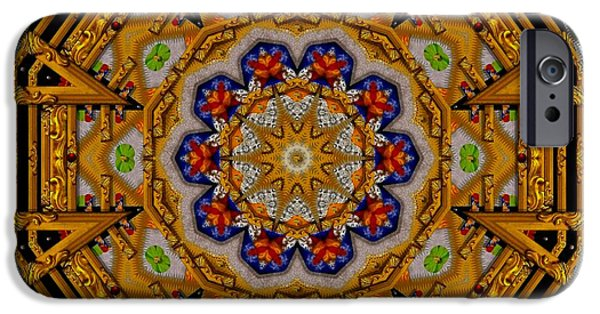 Contemplative Mixed Media iPhone Cases - The golden sacred mandala in wood iPhone Case by Pepita Selles