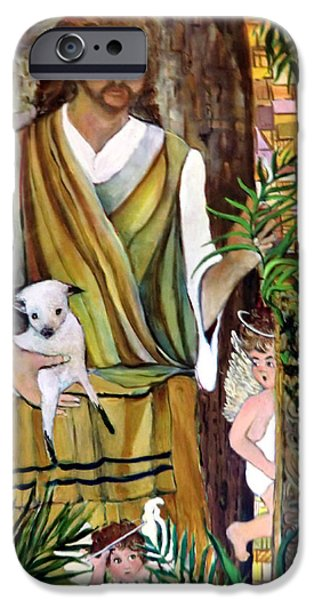 Son Of God Drawings iPhone Cases - The Good Shephard at the Door iPhone Case by Mindy Newman