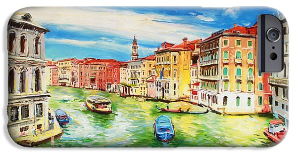 Italian Landscapes Paintings iPhone Cases - The Grand Canal Venice  iPhone Case by Conor McGuire