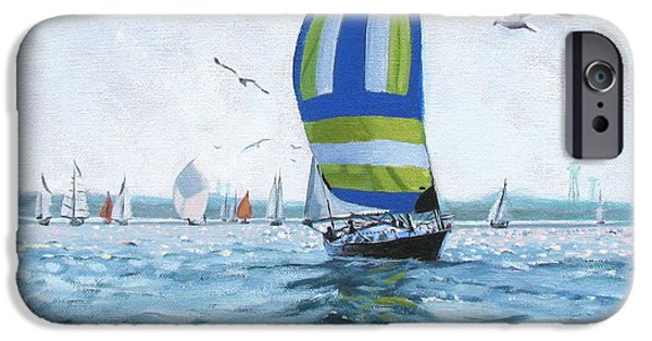 Boats In Water Paintings iPhone Cases - The Great Race 06 iPhone Case by Laura Lee Zanghetti