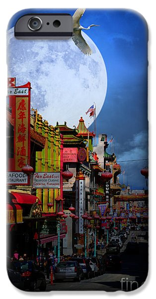 Snowy Night iPhone Cases - The Great White Phoenix of Chinatown . 7D7172 iPhone Case by Wingsdomain Art and Photography