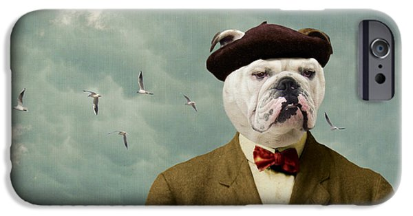 Funny Dog Digital Art iPhone Cases - The Grumpy Man iPhone Case by Martine Roch