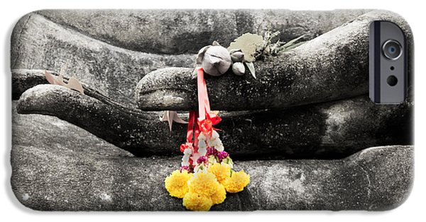 Prayer Digital Art iPhone Cases - The Hand of Buddha iPhone Case by Adrian Evans