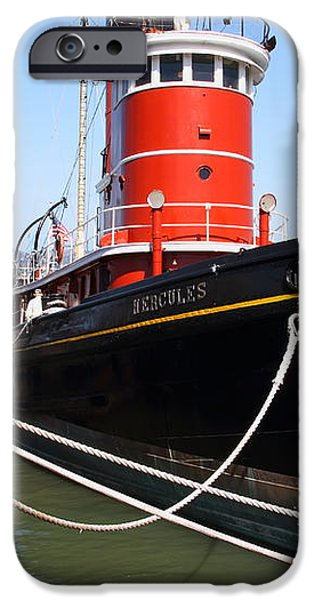 The Hercules . A 1907 Steam Tug Boat At The Hyde Street Pier in San Francisco California . 7D14137 iPhone Case by Wingsdomain Art and Photography