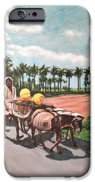 Midday Paintings iPhone Cases - The Herd 4 -Donkey Herd iPhone Case by Usha Shantharam