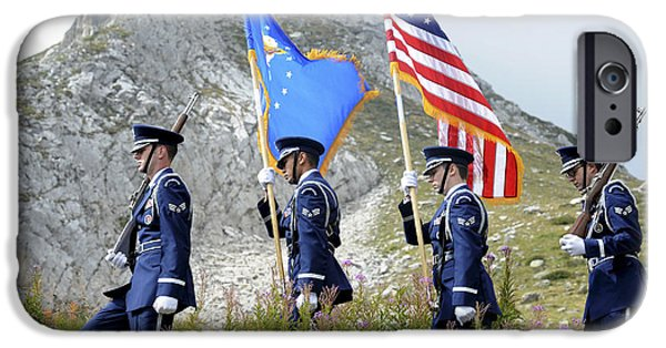 Well Dressed iPhone Cases - The Honor Guard Posts The Colors iPhone Case by Stocktrek Images