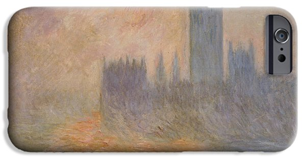 Houses Of Parliament iPhone Cases - The Houses of Parliament at Sunset iPhone Case by Claude Monet