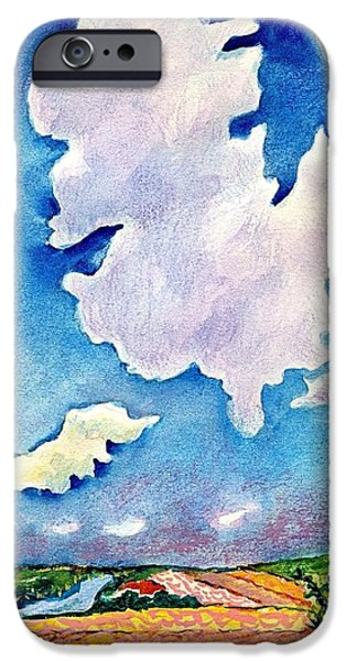 Field. Cloud Drawings iPhone Cases - The Huge Cloud iPhone Case by Ion vincent DAnu