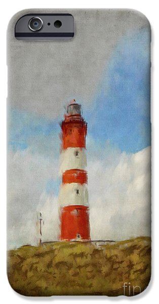 Lighthouse Mixed Media iPhone Cases - The Lighthouse Amrum iPhone Case by Angela Doelling AD DESIGN Photo and PhotoArt