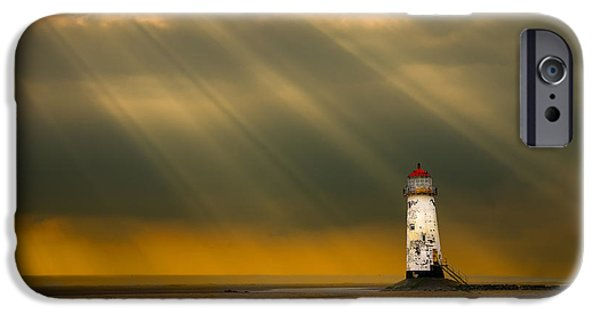 Beautiful Vistas iPhone Cases - The Lighthouse As The Storm Breaks iPhone Case by Meirion Matthias