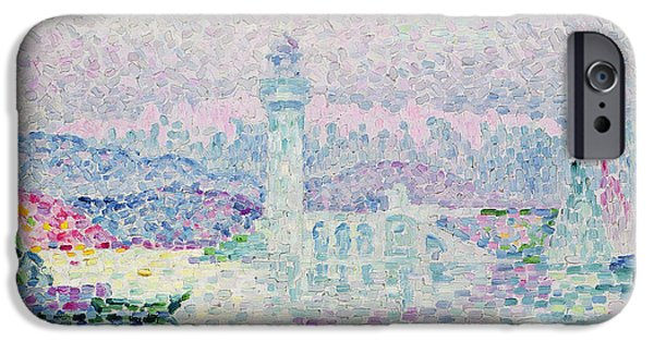 Lighthouse iPhone Cases - The Lighthouse at Antibes iPhone Case by Paul Signac