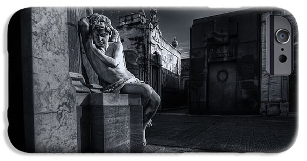 Night Angel iPhone Cases - The Little Angel Recoleta Cemetery BA iPhone Case by Diane Dugas