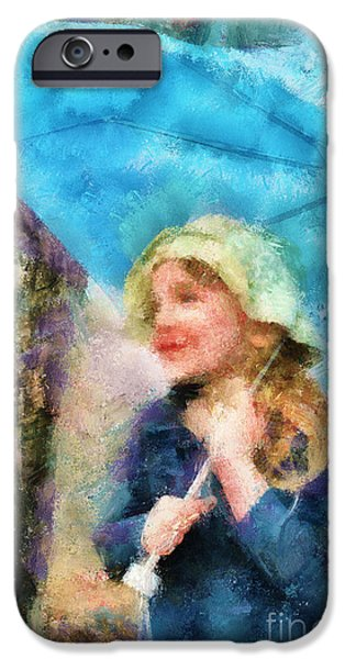 Little Girl iPhone Cases - The Little Girl Who Loves Rain iPhone Case by Aimelle