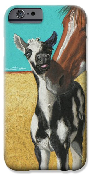 Gold Pastels iPhone Cases - The Little Mustang iPhone Case by Tracy L Teeter