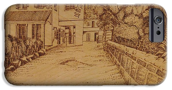 Tropics Pyrography iPhone Cases - The Lodge School iPhone Case by Richard Jules