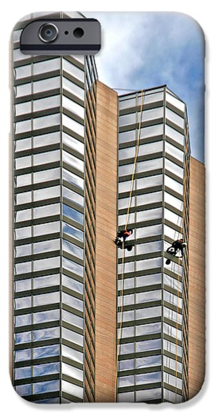 The Loneliness of the Skyscraper Window Cleaner iPhone Case by Christine Till