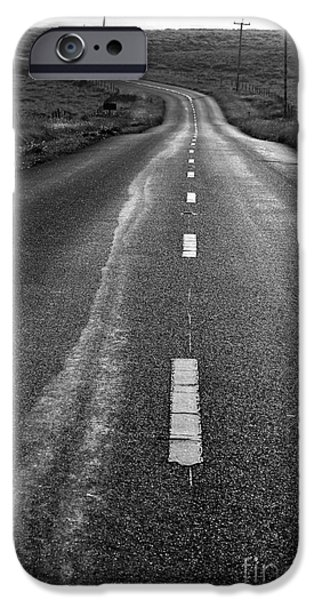 The Long Road Home . 7D9898 . Black and White iPhone Case by Wingsdomain Art and Photography