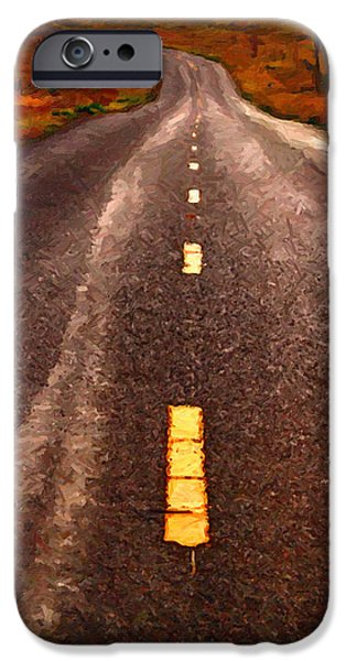 The Long Road Home . Painterly Style . Long Size iPhone Case by Wingsdomain Art and Photography