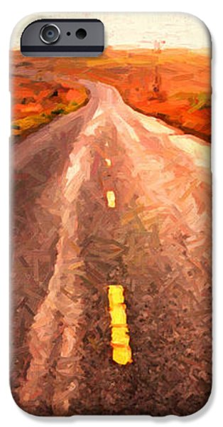 The Long Road Home . Painterly Style . Wide Size iPhone Case by Wingsdomain Art and Photography