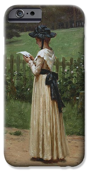 Country Lanes iPhone Cases - The Love Letter iPhone Case by Edmund Blair Leighton