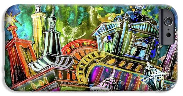 Czech Republic Digital Art iPhone Cases - The Magical Rooftops of Prague 02 iPhone Case by Miki De Goodaboom