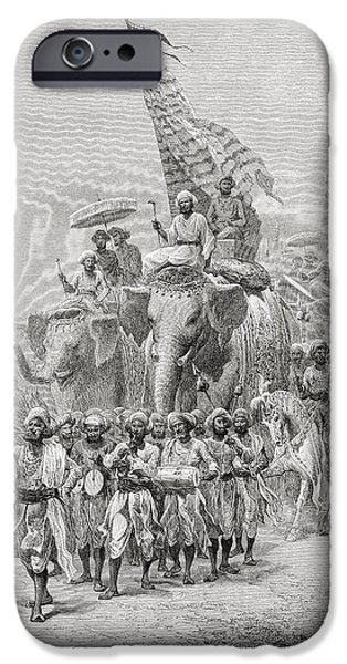 Nineteenth iPhone Cases - The Maharaja Of Baroda, India Riding An iPhone Case by Ken Welsh