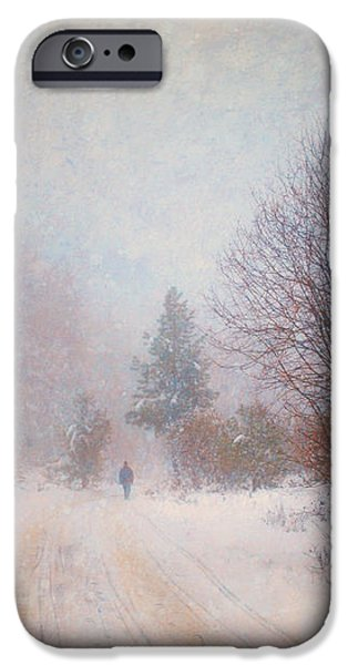 The Man in the Snowstorm iPhone Case by Tara Turner