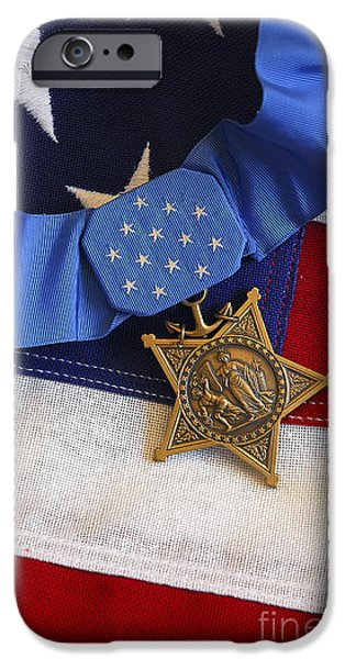 The Medal Of Honor Rests On A Flag iPhone Case by Stocktrek Images