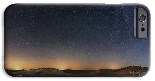Stellar iPhone Cases - The Milky Way Over A Lake In Portugal iPhone Case by Miguel Claro