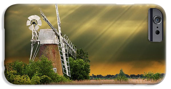 Windmills iPhone Cases - The Mill On The Marsh iPhone Case by Meirion Matthias