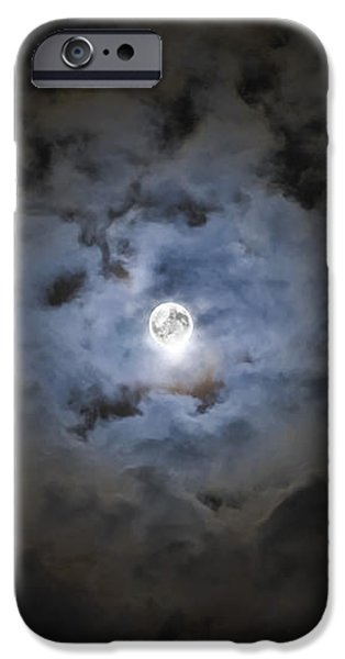 The Moon Covered By A Layer Of Clouds iPhone Case by Miguel Claro