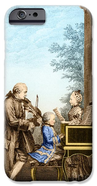 Operatic iPhone Cases - The Mozart Family On Tour 1763 iPhone Case by Photo Researchers