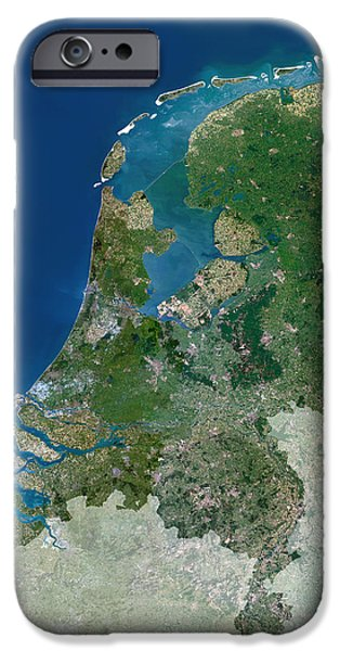 North Sea iPhone Cases - The Netherlands, Satellite Image iPhone Case by Planetobserver