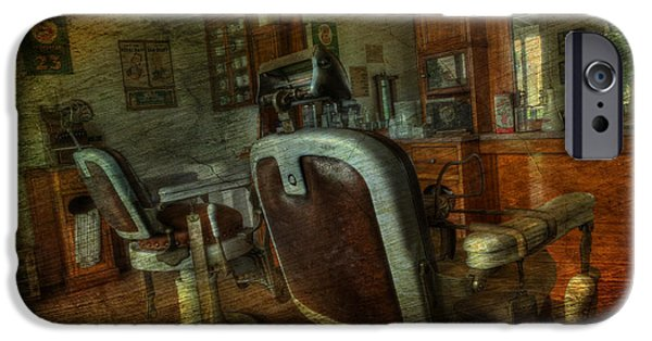 Modern World Photography iPhone Cases - The Old Barbershop - vintage - nostalgia iPhone Case by Lee Dos Santos