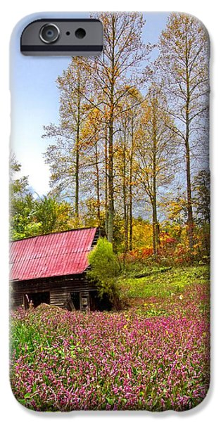 Old Barn Poster Photographs iPhone Cases - The Old Barn at Grandpas Farm iPhone Case by Debra and Dave Vanderlaan