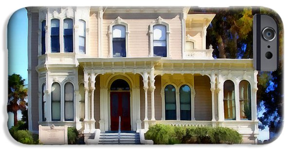 Bay Area Digital iPhone Cases - The Old Victorian Camron-Stanford House in Oakland California . 7D13440 iPhone Case by Wingsdomain Art and Photography
