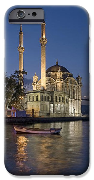 The Ortakoy Mosque and Bosphorus Bridge at dusk iPhone Case by Ayhan Altun